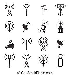 sätta, antenn, ikon