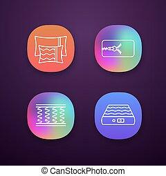 sätta, app, ortopedisk, madrass, ikonen