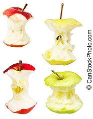 sätta, av, äpple, kärnar ur, isolerat, vita