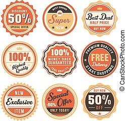sätta, av, årgång, märken, och, etiketter
