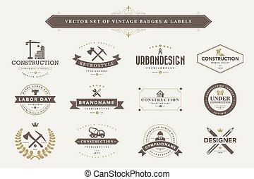 sätta, av, årgång, märken, och, labels.
