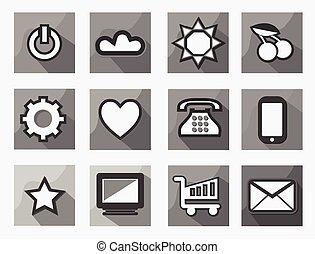 sätta, av, 18, lägenhet, stil, nymodig, kommunikation, och, media, ikonen, svartvitt