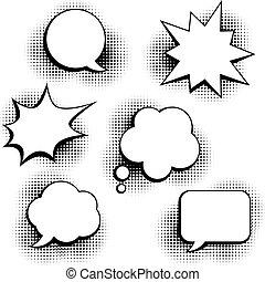 sätta, av, anförande, bubblar, in, poppa konst, style.