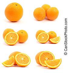 sätta, av, apelsiner, isolerat, vita