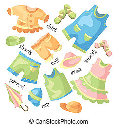 sätta, av, baby kläda