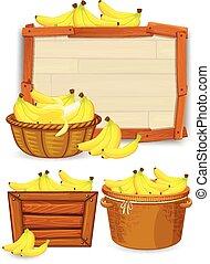 sätta, av, banan, mall