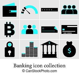 sätta, av, bankrörelse, icons., finans, icons.
