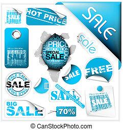 sätta, av, blå, försäljning, lottsedlar, etiketter, och, klistermärken