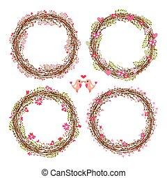 sätta, av, blommig, vektor, wreathes.