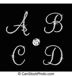 sätta, av, diamant, alfabetisk, letters., vektor