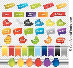 sätta, av, färg, försäljning, klistermärken, och, etiketter