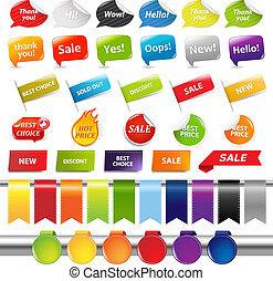 sätta, av, färgrik, försäljning, klistermärken, och, etiketter