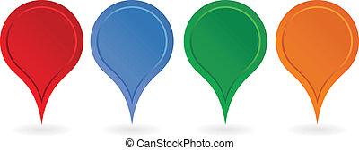 sätta, av, färgrik, karta, pointers., vektor