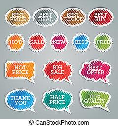 sätta, av, färgrik, klistermärken