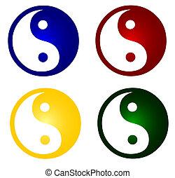 sätta, av, färgrik, ying, och, yang, symboler