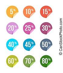 sätta, av, försäljning, av, klistermärken, färgad, märken, etikett, rabatt, symbol, berätta, underteckna, pris