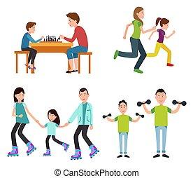 sätta, av, familj, bilder, färg, vektor, illustration