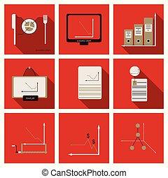sätta, av, finans, och, bankrörelse, icons., enkel, elementara