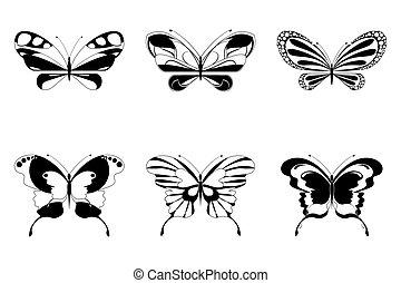 sätta, av, fjäril