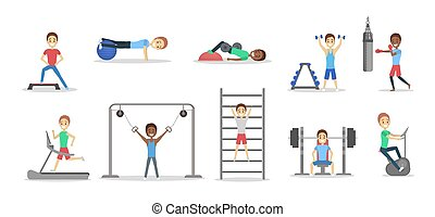 sätta, av, folk, gör, träningen, i idrottshallen