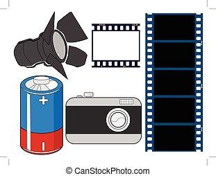 sätta, av, fotografi, släkt, objekt