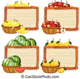 sätta, av, frukt, baner