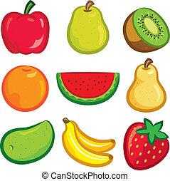 sätta, av, frukt, ikon