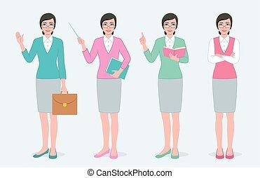 sätta, av, fyra, kvinnlig, teacher.
