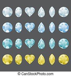 sätta, av, gemstones, in, olik, colors.