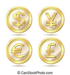 sätta, av, gyllene, mynt