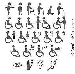 sätta, av, handikapp, folk, pictograms, lägenhet, ikonen, isolerat, vita