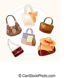 sätta, av, handväskor, för, alla, tillfällen