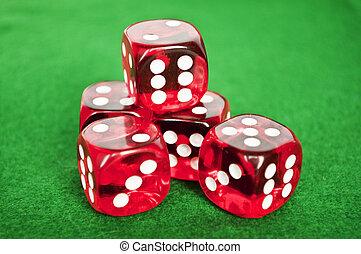 sätta, av, hasardspel, tärningar, på, grön fond