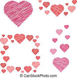 sätta, av, hjärtan, compositions, in, skiss, stil