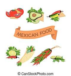 sätta, av, icons., mexikansk mat