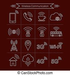 sätta, av, ikonen, av, radio, signaltjänst