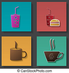 sätta, av, ikonen, för, mat och dryck