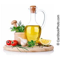 sätta, av, ingredienser, och, krydda, för, mat, matlagning