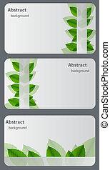 sätta, av, natur, gåva, cards.vector, illustration
