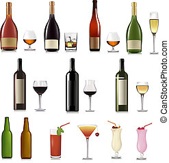 sätta, av, olik, drycken, och, flaskor