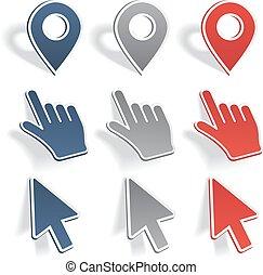 sätta, av, olik, karta, pointers., vektor