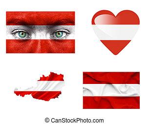 sätta, av, olika, österrike, flaggan