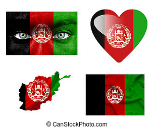 sätta, av, olika, afghanistan, flaggan