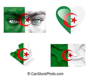 sätta, av, olika, algeriet, flaggan
