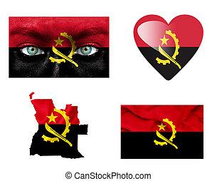 sätta, av, olika, angola, flaggan