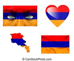 sätta, av, olika, armenien, flaggan