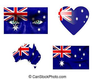 sätta, av, olika, australien, flaggan
