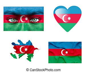 sätta, av, olika, azerbajdzjan, flaggan
