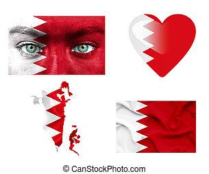 sätta, av, olika, bahrein, flaggan