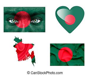 sätta, av, olika, bangladesh, flaggan